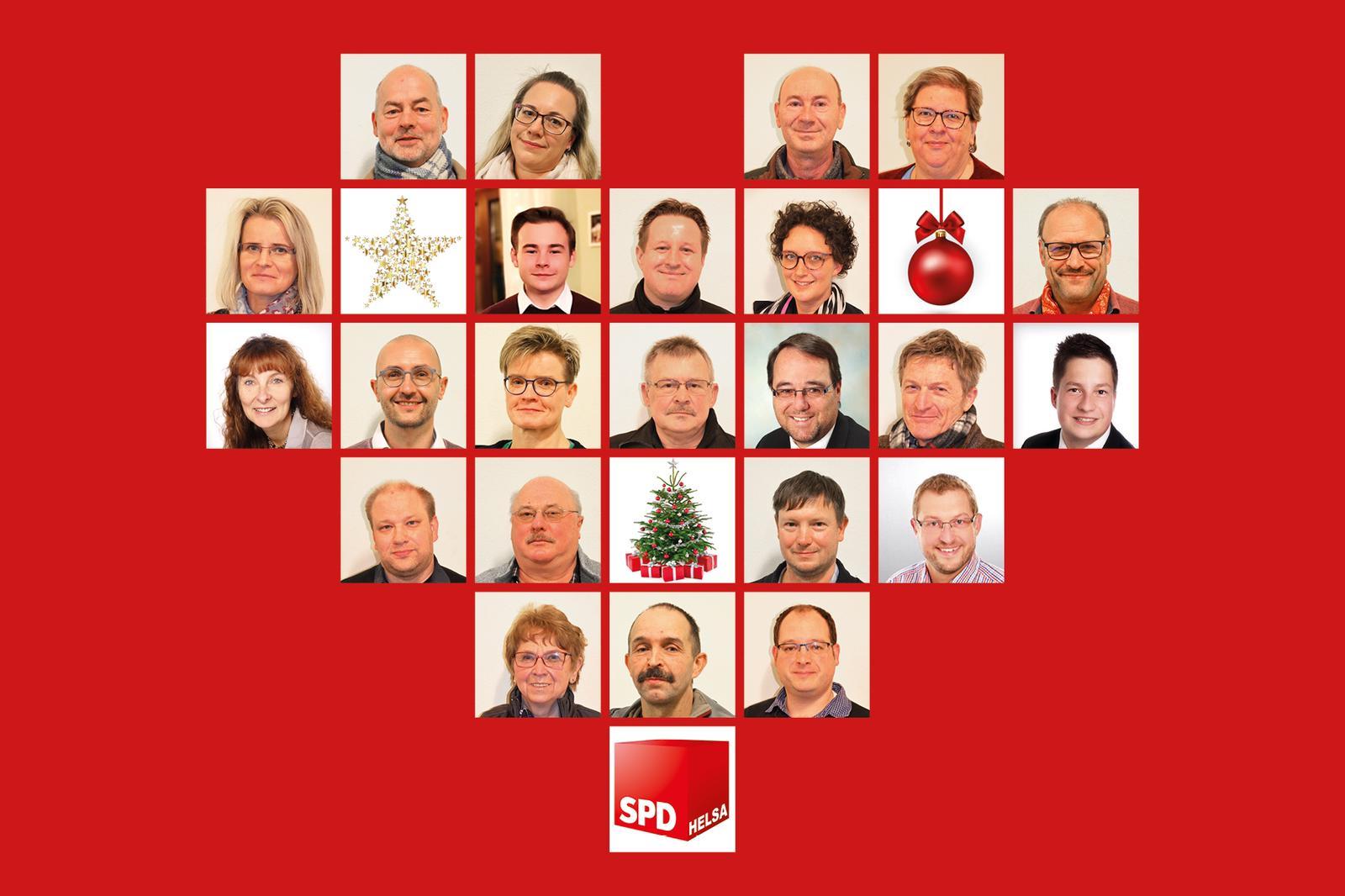 Grafik: Weihnachtsgrüße mit Collage der Kandidaten in Herzform